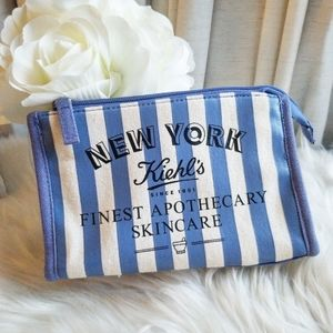 Kiehl's New York Striped Cosmetic Pouch Case